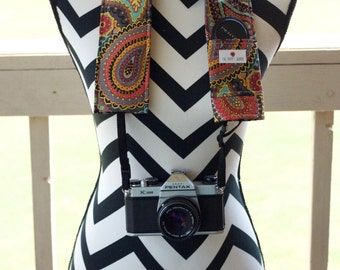 DSLR Camera Strap Cover- lens cap pocket and padding included- Earth-tone Paisley
