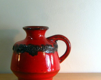 Fat Lava Bright Red West German Pottery Vase with Black Lava Ring