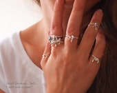 "New! FORGET Me KNOT RING - Forget Me Not Ring- Stacking / Knuckle - Silver Bow Ring  -  Soft Fine Silver - "" With Only a Rope "" Collection"