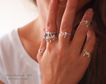 """New! FORGET Me KNOT RING - Forget Me Not Ring- Stacking / Knuckle - Silver Bow Ring  -  Soft Fine Silver - """" With Only a Rope """" Collection"""