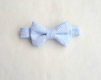Baby Blue Bow Tie, Seersucker Bow Tie, Boys Striped Bow Tie, Baby Boy Bow Tie, Baby Bow Tie, Toddler Bow Tie, Baby Blue, Baby Boy, Blue Bow