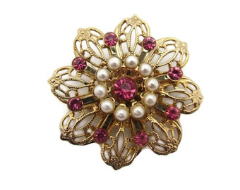 Flower Brooch Rhinestone Brooch Gold Filigree Jewelry Pearl Vintage Art Nouveau Pink Rhinestones Pearls Victorian Jewelry Lapel Coat Pins