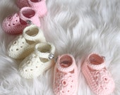 Crocheted Mary-Jane shoe, baby booties, NB to 12M, Custom Colour, Made to Order