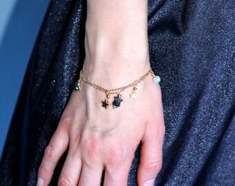 Planet minimalist stackable double chain bracelet.  Minimalistic jewelry. Owl star bracelet