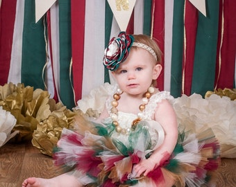 "Christmas birthday outfit ""Harper"" gold Christmas outfit tutu romper headband first birthday first Christmas newborn Christmas outfit girl"