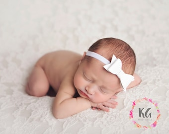 Baby Headband - Baby Girl Headbands - Bow Headbands - Newborn Headbands - White Baby Headband - Baby Bow Headband - Newborn Baby Girl - Baby