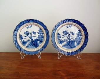 Booths Real Old Willow Plates Set of Two Dessert or Salad Plates with Gold Trim Blue Willow Design
