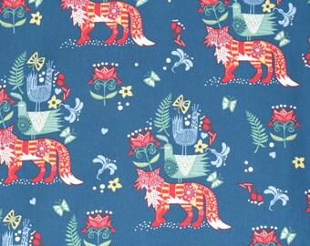 SALE   Kokka Japanese fox fabric - Scandinavian Diary - lightweight canvas - 1/2 YD