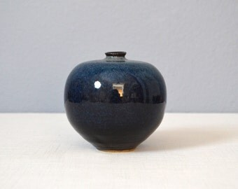 Vintage Round Stoneware Studio Art Pottery Weed Pot