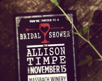 Wine Bridal Shower Invitation Printable, Winery Shower Invitation, Vineyard Shower, Wine Bachelorette Party, Black and Red Custom Invitation