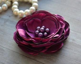 Plum, Bridal Hair Clip, Purple Wedding, Hair Flower, Silk Flower, Bridesmaid, Hair Accessory, Fascinator, Flower Hairpiece, Hair Flower