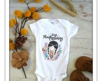 Babys First Onesie, Baby Onesie, Custom Name, Personalized Gift, Baby Shower Present, Baby Girl Outfit, Thanksgiving