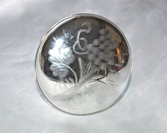 Mercury Glass Drapery Hold Back or Knob, Large with Engraved Grapes and Vine, Vintage