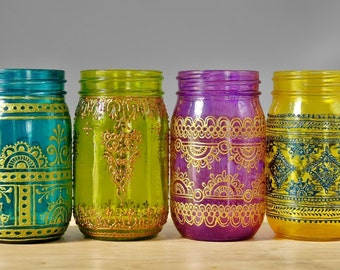 Set of 4 Moroccan Style Mason Jar Lanterns, Brilliant Spring Colored Glass with Henna Styled Accents