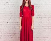 Red Party Dress, Full skirt dress,red cocktail dress, Holiday dress, handmade dress, size medium, formal, midi dress,size Medium,1950s dress