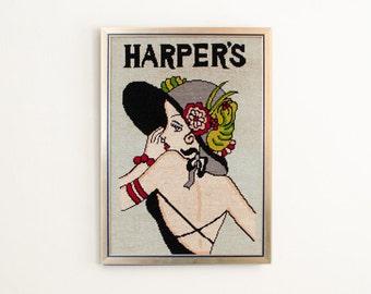 Vintage Harper's Magazine Hand Stitched Needlepoint Portrait  w/Frame - Art Deco