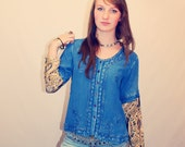 Bohemian Top 70s Vintage Shirt Size XS - L Embroidered Indian Blouse Button Down Boho Hippie Upcycled Clothing Recycled Eco Friendly OOAK