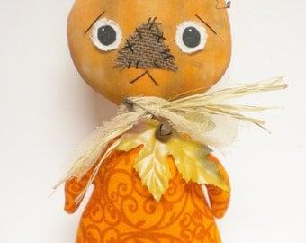 Primitive Pumpkin Doll, Halloween Pumpkins, Folk Art Dolls