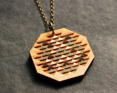 Boho modern ethno wood necklace in mint black and white