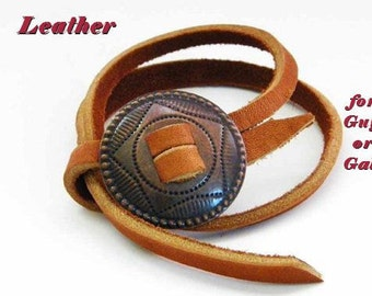 Bronze Concho Leather Cuff Bracelet Rustic Latigo Free Wrap Bracelet Cowgirl Jewelry Texas Southwestern Mans or Ladies Jewelry