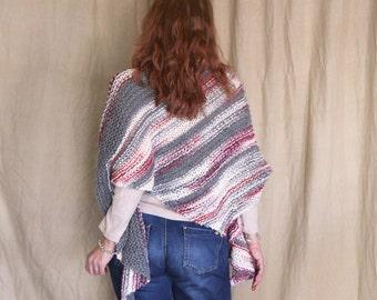 Asymmetrical shawl, chunky shawl, shawl wrap, chunky scarf, grey multicolor shawl, self striping shawl, winter shawl, ready to ship