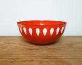 RESERVED for Courtney // CathrineHolm Lotus Bowl, Vintage Large Red Orange Enamel, Cathrine Holm Norway