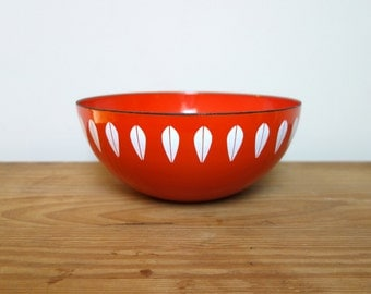 CathrineHolm Lotus Bowl, Vintage Large Red Orange Enamel, Cathrine Holm Norway