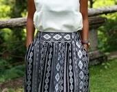 Chevron Skirt Black and White / Midi Skirt for Women / Elastic Waist Skirt