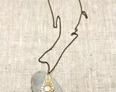 SUN Necklace Engraved Brass