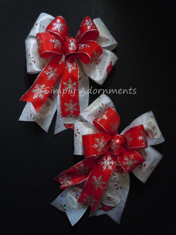 Christmas Gift Bows Red White Snowflakes Ornament Christmas Bows Christmas Lantern Bows Christmas Wreath Garland Bows