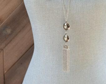 Long Silver Tassel Necklace - Long Fringe Necklace - Gunmetal Long Chain Necklace - Long Silver Chain Necklace - Long Dangle Necklace