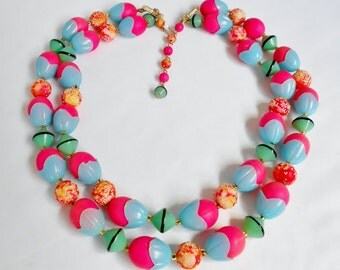 Vintage Bead Necklace Double Strand Colorful Hot Pink Blue Green Plastic Signed HONG KONG, Unique Vintage Jewelry