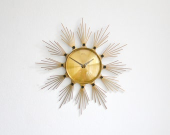 Brass starburst clock, 60s sunburst wall clock, German Atlanta clock, 60s brass wall clock