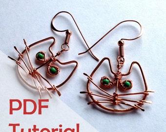 Cute Cat Earrings Tutorial, Wire Jewelry Tutorial, Instant PDF Download