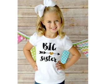 Big sister Shirt / Baby Announcement Shirt / Girl Sibling Shirts / Personalized Shirt / Custom Big Sister Little Sister Glitter GOLD Shirt