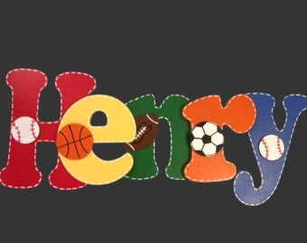 Baby Photo Prop Sports Letters Wood Letters Wall Letters For NurseryWall Decor Wooden Letters Painted Letters Nursery Letters