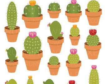 Cactus Clip Art | Succulent Cacti Green House Plant | Art Digital Illustration Stock Icons | Personal or Commercial Use