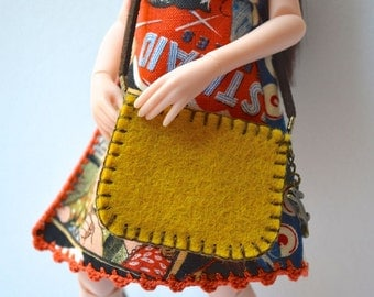 Bag for Ruruko Doll - Pure Neemo XS - Yellow Felt - 1/6 scale - Handmade