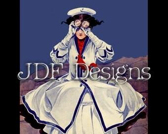 Instant Digital Download, Vintage Antique Graphic, Sailor Girl, Patriotic Nautical Woman, July Fourth Image, Binoculars, Americana Costume