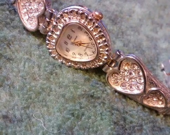 Heart Rhinestone Geneva Gold And Silver Plated Watch
