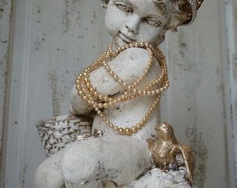 Large cherub statue w/ blue bird shabby cottage chic large angelic figure w/ embellished crown and pearls home decor anita spero design