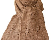 Hand Knit Scarf - Tan Tweed Winter Windows Wool