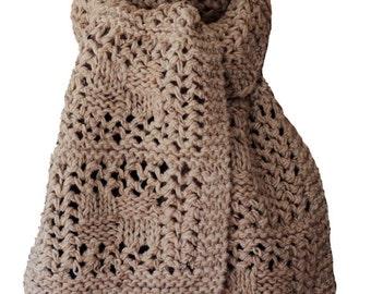 Hand Knit Scarf - Chunky Oatmeal Tweed Checkerboard Wool