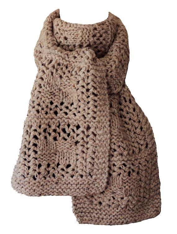 Hand Knit Scarf Chunky Oatmeal Tweed Checkerboard Wool