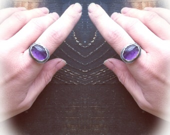 Amethyst and sterling silver ring, blackened silver and violet, hand cut rustic bezel, hammered ring band, natural amulet, mineral talisman.