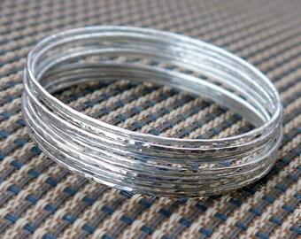 Silver bangles set, Hammered bangles set of 10, stacking bangles, hammered bangles, skinny bangles, silver bracelet, hammered bracelet.