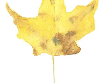 Yellow Leaf- Watercolor Painting Print-Nature Art