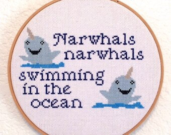 Narwhals Narwhals Swimming In The Ocean Cross Stitch Pattern, Pattern Only