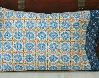 Organic Pillowcase, Pillowcase, Standard Pillowcase, Pillowcase, Pillow Case, Custom Pillowcase: Anya, Floral, Blue, Green