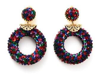 REDUCED were 65 now 50 fabulous VINTAGE 80s jewel tone sequin & gold hoop earrings